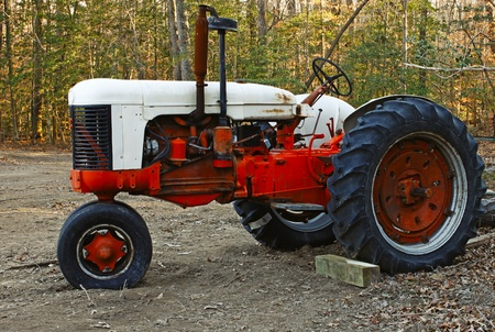 A high contrast shot of an old large orange and antique white Farm Tractor in the woods. photo