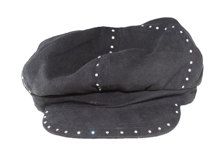 acrylic fiber: An old style French Beret type of a  black studded cap isolated on white.