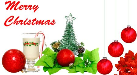 An arrangement of Christmas decorations on white with room for your text