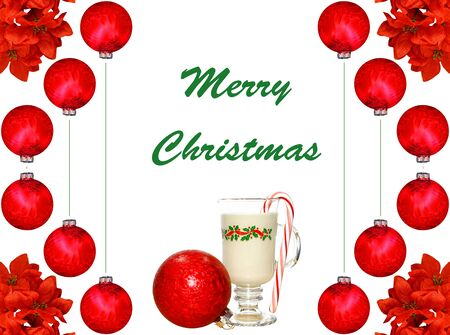 A Christmas design of a glass of eggnog and a candy cane with holly leaves and  red Christmas balls on white. photo
