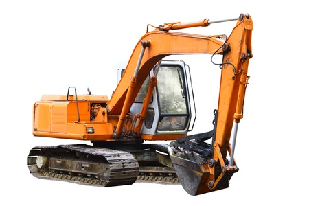 A construction Excavator used for excavating of trees debris and anything else needed isolated on white with room for your text. Stock Photo