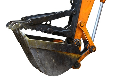 An Excavator bucket with the jaw attachment on it used for lifting trees and debris isolated on white with room for your text.