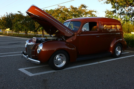 GLOUCESTER, VA, USA -OCTOBER 7: Vintage 1940 Sedan Delivery in the Middle Peninsula Classic Cruisers Club weekly Car Show. Main Street Center. October 7, 2011 in Gloucester, VA, USA