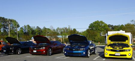 GLOUCESTER, VA- APR 13:A line of Chevy Camaros at the 2nd Annual 2012 MPCC (middle peninsula car club) meeting at the Main St shopping center in Gloucester Virginia, 2012 in Gloucester Virginia  on April 13, 2012.