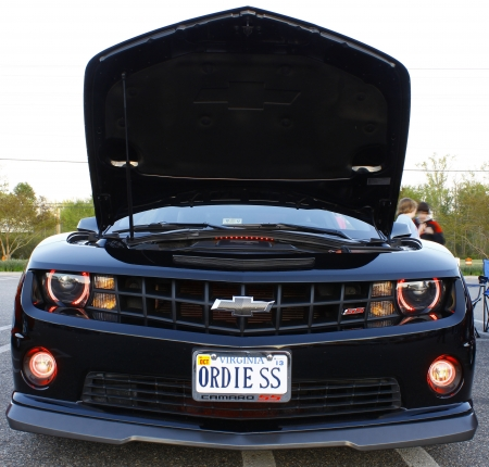 GLOUCESTER, VA- APR 13:Front of a Black Chevy Camaro at the 2nd Annual 2012 MPCC (middle penninsula car club) meeting at the Main St shopping center in Gloucester Virginia, 2012 in Gloucester Virginia on April 13, 2012.  Editorial