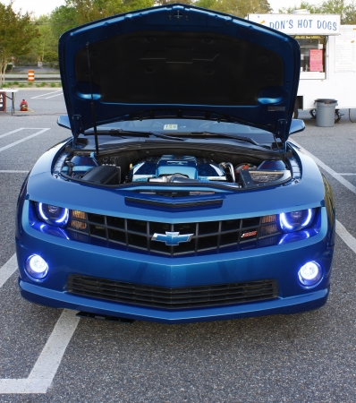 GLOUCESTER, VA- APR 13:Front of a Blue Chevy Camaro at the 2nd Annual 2012 MPCC (middle penninsula car club) meeting at the Main St shopping center in Gloucester Virginia, 2012 in Gloucester Virginia on April 13, 2012.  Stock Photo - 13775564