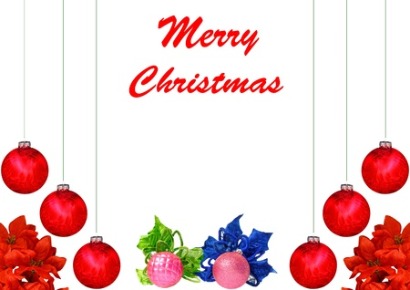 A Christmas design with red and pink Christmas balls, poinsettia leaves isolated on white with room for your text photo