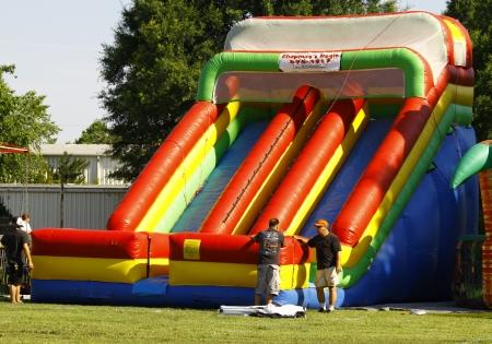 HAMPTON, VA-JUNE 9:An inflateable slide at the 3rd annual HCS car show at the Hampton Christian School in Hampton Virginia, 2012 in Hampton Virginia on June 9, 2012. Editorial