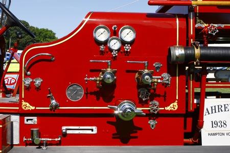 antique fire truck: HAMPTON, VA-JUNE 9:A 1938 Quad firetruck  at the 3rd annual HCS car show at the Hampton Christian School in Hampton Virginia, 2012 in Hampton Virginia on June 9, 2012.