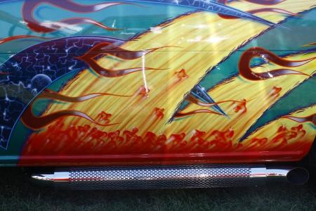 HAMPTON, VA-JUNE 9:A 65 Ford Econoline 87B body at the 3rd annual HCS car show at the Hampton Christian School in Hampton Virginia, 2012 in Hampton Virginia on June 9, 2012. Editorial