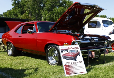 HAMPTON, VA-JUNE 9:A Chevy Nova SS  at the 3rd annual HCS car show at the Hampton Christian School in Hampton Virginia, 2012 in Hampton Virginia on June 9, 2012. Editorial