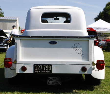 HAMPTON, VA-JUNE 9:A 1950 Ford pickup at the 3rd annual HCS car show at the Hampton Christian School in Hampton Virginia, 2012 in Hampton Virginia on June 9, 2012.