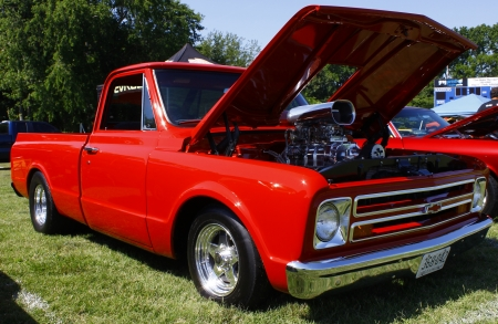 HAMPTON, VA-JUNE 9:A supercharged 67 Chevy PU at the 3rd annual HCS car show at the Hampton Christian School in Hampton Virginia, 2012 in Hampton Virginia on June 9, 2012.