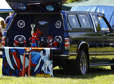 spiderman: HAMPTON, VA-JUNE 9:A Spiderman pickup at the 3rd annual HCS car show at the Hampton Christian School in Hampton Virginia, 2012 in Hampton Virginia on June 9, 2012.