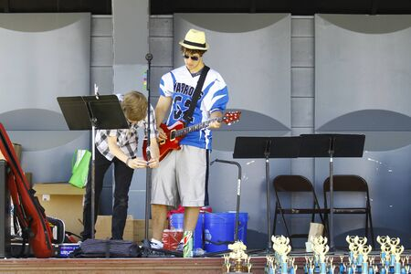 HAMPTON, VA-JUNE 9:The HCS Car Show Band members at the 3rd annual HCS car show at the Hampton Christian School in Hampton Virginia, 2012 in Hampton Virginia on June 9, 2012.