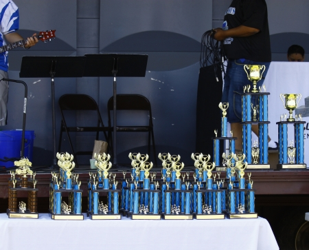 HAMPTON, VA-JUNE 9:The HCS Car Show trophies at the 3rd annual HCS car show at the Hampton Christian School in Hampton Virginia, 2012 in Hampton Virginia on June 9, 2012. Stock Photo - 14406641