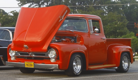 GLOUCESTER, VA- AUGUST 3:A Ford F-100 at the 18th Annual 2012 MPCC(middle peninsula car club)meeting at the Main St shopping center in Gloucester, Virginia on August 3, 2012.
