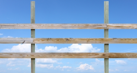 breaking down: A wooden farmers horse fence breaking down the rule of thirds isolated on white with room for your text. Stock Photo