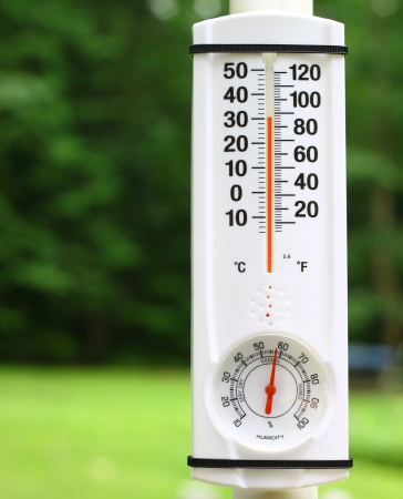 An new outdoor mercury thermometer and humidity guage on a pole reading the outdoor summer temperature and humidity using a shallow depth of field and selective focus with room for your text