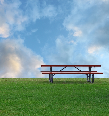 red grass: A Picnic table on a summer day with a bright blue cloud filled sky in the background and room for your text. Stock Photo