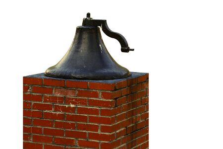 morter: An old large church bell on a brick pedistal isolated on white with room for your text.