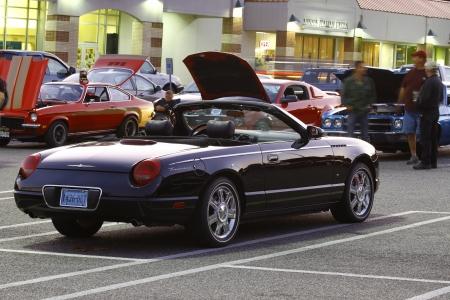 thunderbird: GLOUCESTER, VA, USA -October 14: A new black Ford Thunderbird in the Middle Peninsula Classic Cruisers Club weekly Car Show. Main Street Center. October14, 2011 in Gloucester, VA, USA