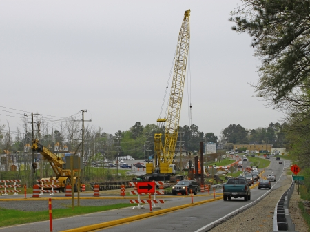 GLOUCESTER, VA, USA - MARCH 31:Eastbound view of the Main St bridge replacement project over the ware river on Main Street. on March 31, 2012 in Gloucester, VA, USA