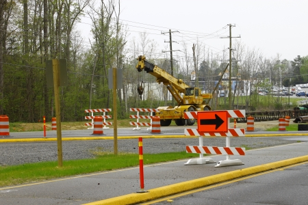 GLOUCESTER, VA, USA - MARCH 31:A wheeled telescoping crane to be used on the bridge project over the ware river on Main Street. on March 31, 2012 in Gloucester, VA, USA