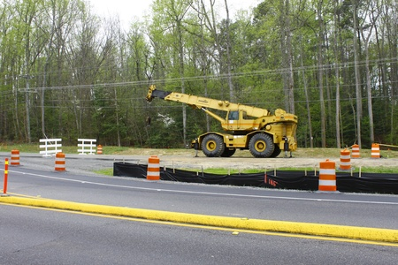 GLOUCESTER, VA, USA - MARCH 31:A wide angle shot of a wheeled crane to be used on the bridge replacement project over the ware river on Main Street. on March 31, 2012 in Gloucester, VA, USA