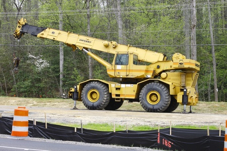 GLOUCESTER, VA, USA - MARCH 31:A close up of a telescopic wheeled crane for the bridge replacement project over the ware river on Main Street. on March 31, 2012 in Gloucester, VA, USA