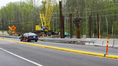 GLOUCESTER, VA, USA - MARCH 31:The bridge replacement project over the ware river on Main Street. on March 31, 2012 in Gloucester, VA, USA