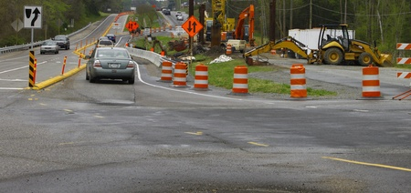 GLOUCESTER, VA, USA - MARCH 31:Rerouted traffic around the bridge replacement project over the ware river on Main Street. on March 31, 2012 in Gloucester, VA, USA