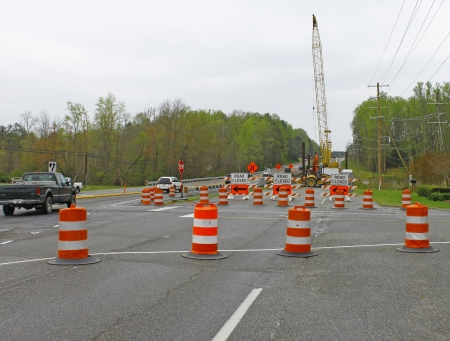 GLOUCESTER, VA, USA - MARCH 31:Main street Library intersection at the bridge replacement project over the ware river on Main Street. on March 31, 2012 in Gloucester, VA, USA