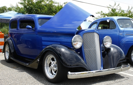 GLOUCESTER, VA- JULY 14:A 1934 Chevy Hot Rod at the Annual Blast from the past car show at the Main St shopping center in Gloucester, Virginia on July 14, 2012.
