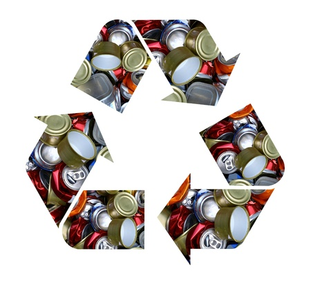 international recycle symbol: The international recycle symbol made with crushed aluminum cans isolated on white