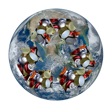 international recycle symbol: The Earth with the international recycle symbol made of aluminum cans superimposed on it isolated on white. Earth image provided by NASA