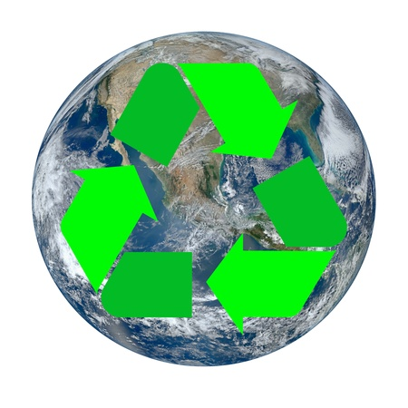 environmentalist tag: The Earth with the international recycle symbol superimposed on it isolated on white. Earth image provided by NASA