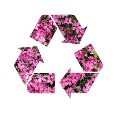 A pink floral Recycle Symbol Isolated On White Background Stock Photo - 15420608