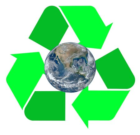 international recycle symbol: Two tone green international Recycle Symbol, illustration with the Earth inside of it Isolated On White Background, Earth image provided by NASA