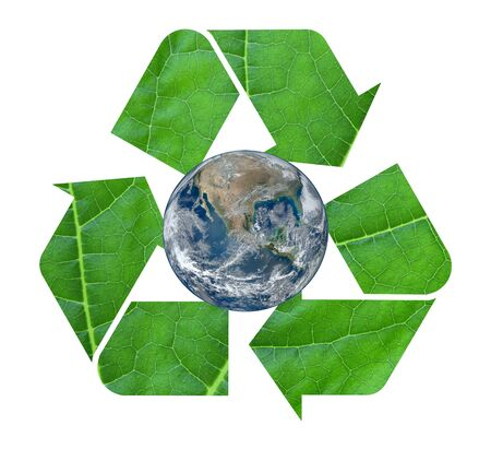 The international Recycle symbol with leaf texture Stock Photo - 15431216