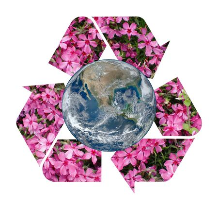 A pink floral Recycle Symbol surrounding the Earth Stock Photo - 15431212