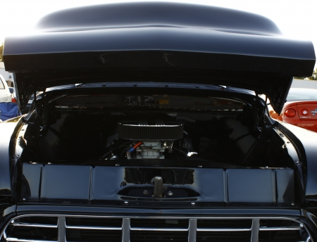 GLOUCESTER, VA- OCTOBER 12:A vintage engine compartment at the 29th Annual 2012 MPCC(middle peninsula car club)meeting at the Main St shopping center in Gloucester, Virginia on October 12, 2012