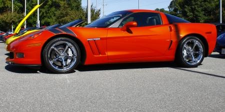 GLOUCESTER, VA- OCTOBER 13:An orange Grand sport Corvette at the Ken Houtz Chevrolet Buick, Camaro VS Corvette Humane Society car show and food drive in Gloucester Virginia on October 13, 2012