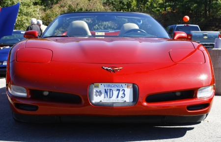 GLOUCESTER, VA- OCTOBER 13:Front of a red Corvette convertible at the Ken Houtz Chevrolet Buick, Camaro VS Corvette Humane Society car show and food drive in Gloucester, Virginia on October 13, 2012 Editorial