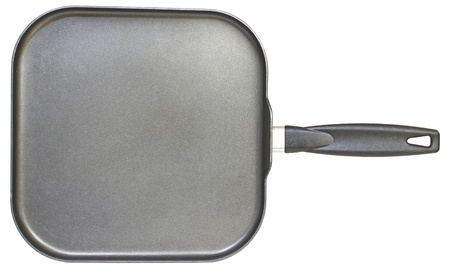 A large square nonstick frying pan isolated on white