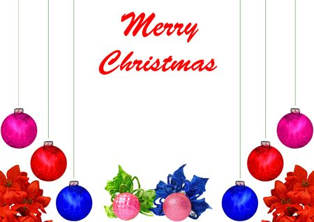 A Christmas design with red,violet,blue and pink Christmas balls, poinsettia leaves isolated on white with room for your text photo