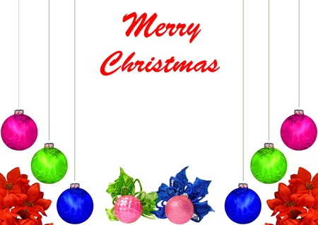 A Christmas design with red,violet,blue,green and pink Christmas balls, poinsettia leaves isolated on white with room for your text photo