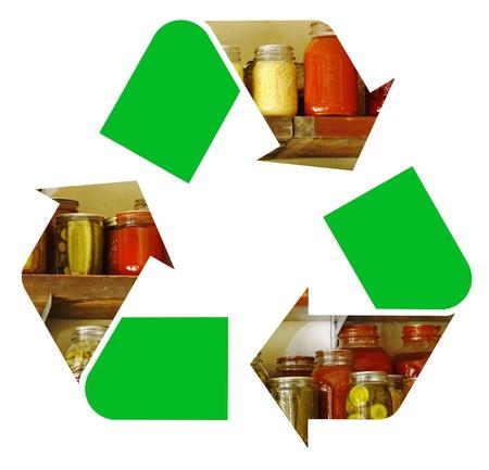 international recycle symbol: fresh canned vegetables representing the international Recycle Symbol, illustration Isolated On White Background Stock Photo