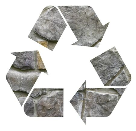 viewfinderchallenge3: A gray stone, rock international Recycle Symbol, illustration Isolated On White Background Stock Photo