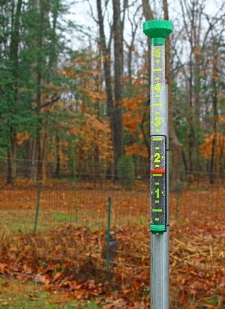 pluviometro: Una lluvia mojado cubierto, lluvia llena pluviómetro con una precipitación nuevas en lo exterior en un patio Foto de archivo